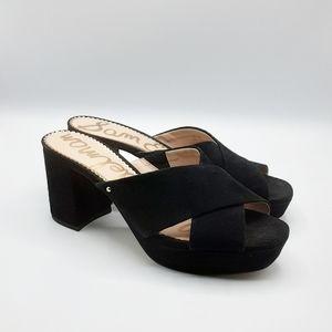 SAM EDELMAN Jayne Suede Platform Sandals | Black